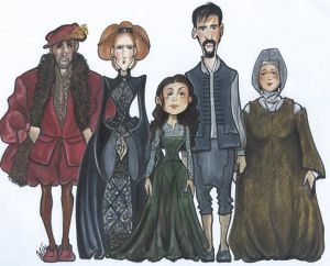 """I Am Marguerite"" cast in costumes.  Caricature by Peter DeFreitas."