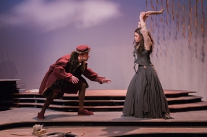 Jean-François de Roberval (Chris Coculuzzi) dodges an attack from his sister Marguerite (Daniela Pagliarello).  Photo:  Bruce Peters